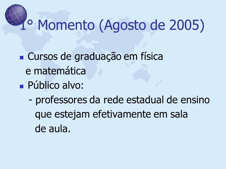 1° Momento (Agosto de 2005) Cursos de graduação em física e matemática Público alvo: - professores da rede estadual de ensino que estejam efetivamente