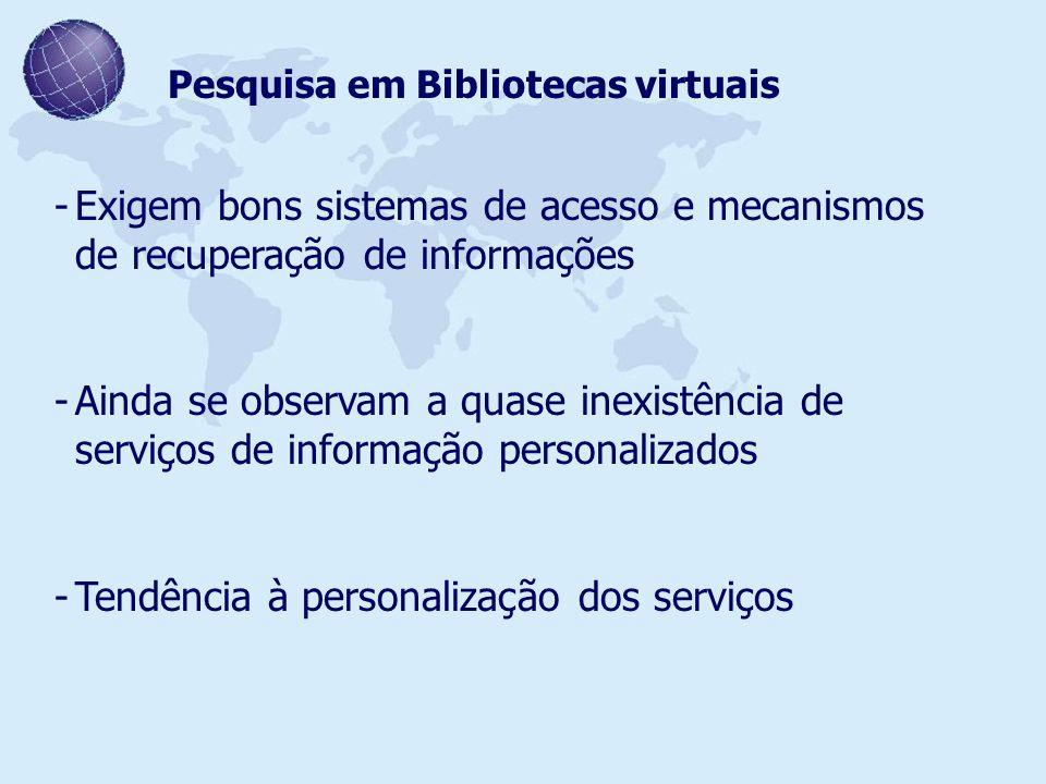 Pesquisa em Bibliotecas virtuais -Exigem bons sistemas de acesso e mecanismos de recuperação de informações -Ainda se observam a quase inexistência de