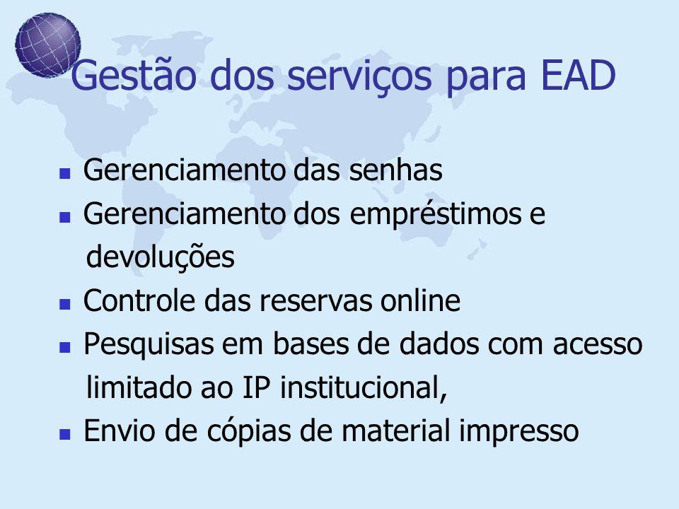 Gestão dos serviços para EAD Gerenciamento das senhas Gerenciamento dos empréstimos e devoluções Controle das reservas online Pesquisas em bases de da