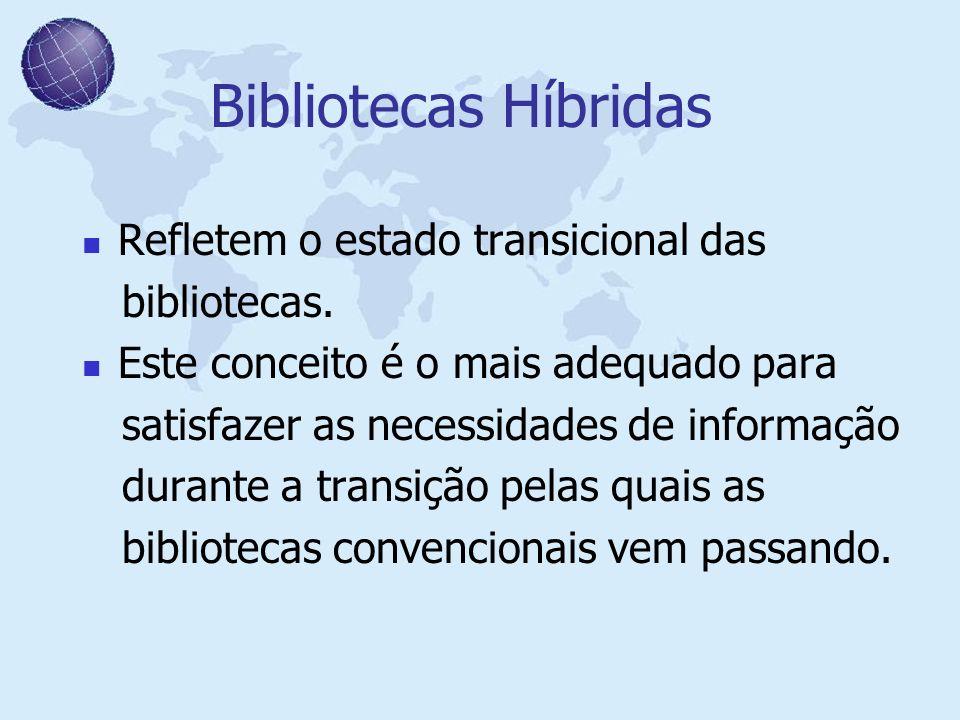 Bibliotecas Híbridas Refletem o estado transicional das bibliotecas. Este conceito é o mais adequado para satisfazer as necessidades de informação dur