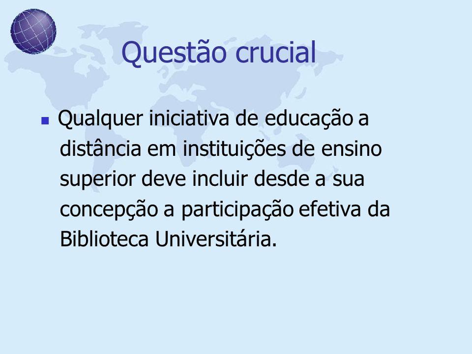Questão crucial Qualquer iniciativa de educação a distância em instituições de ensino superior deve incluir desde a sua concepção a participação efeti