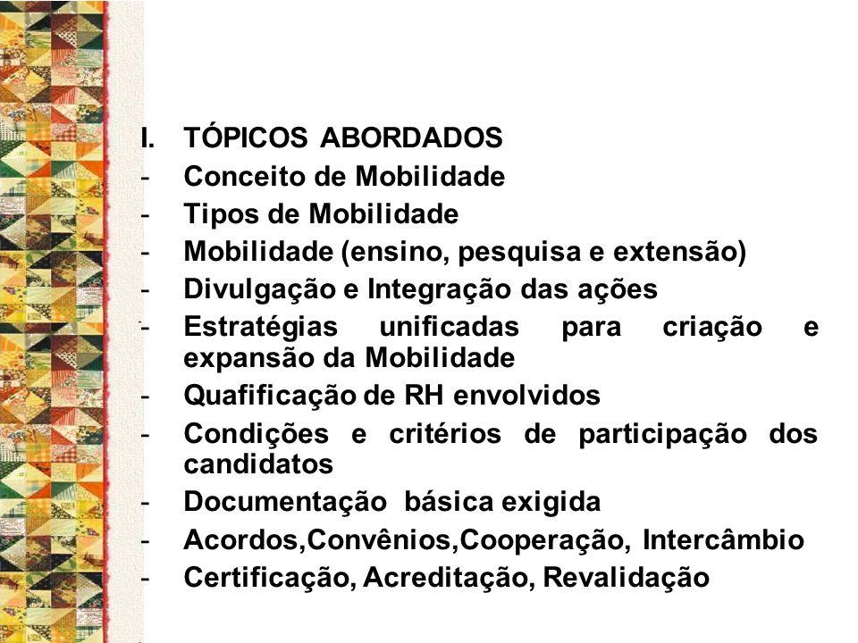 I.TÓPICOS ABORDADOS -Conceito de Mobilidade -Tipos de Mobilidade -Mobilidade (ensino, pesquisa e extensão) -Divulgação e Integração das ações -Estraté