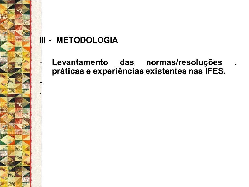 III - METODOLOGIA -Levantamento das normas/resoluções. práticas e experiências existentes nas IFES. -