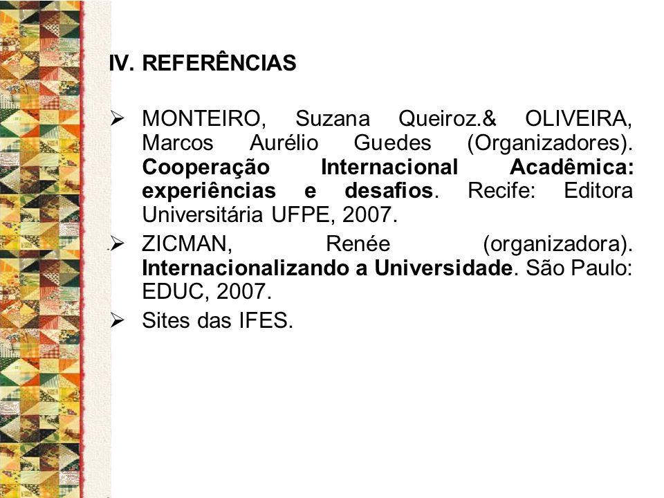 IV. REFERÊNCIAS MONTEIRO, Suzana Queiroz.& OLIVEIRA, Marcos Aurélio Guedes (Organizadores). Cooperação Internacional Acadêmica: experiências e desafio