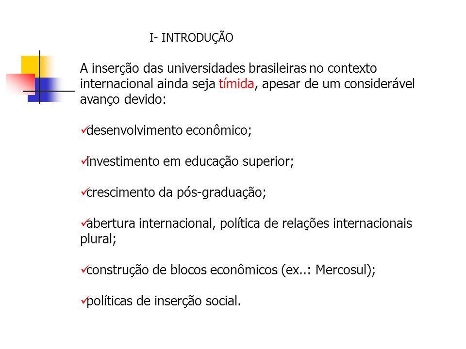 I- INTRODUÇÃO A inserção das universidades brasileiras no contexto internacional ainda seja tímida, apesar de um considerável avanço devido: desenvolvimento econômico; investimento em educação superior; crescimento da pós-graduação; abertura internacional, política de relações internacionais plural; construção de blocos econômicos (ex..: Mercosul); políticas de inserção social.