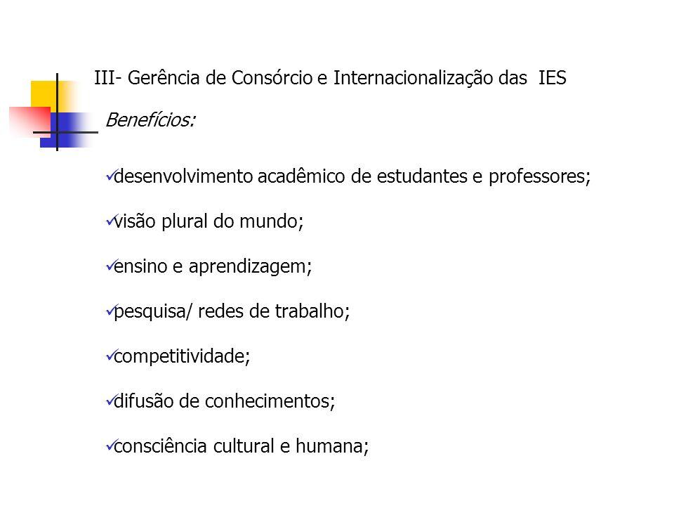 Benefícios: desenvolvimento acadêmico de estudantes e professores; visão plural do mundo; ensino e aprendizagem; pesquisa/ redes de trabalho; competitividade; difusão de conhecimentos; consciência cultural e humana;