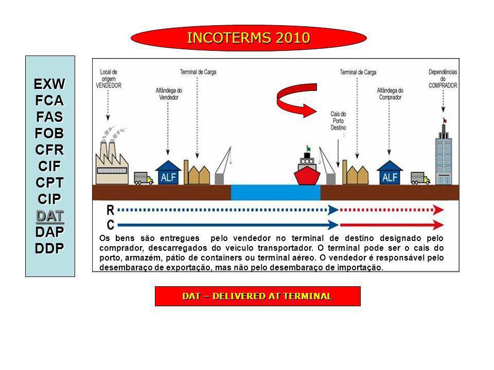 INCOTERMS 2010 EXWFCAFASFOBCFRCIFCPTCIPDATDAPDDP DAT – DELIVERED AT TERMINAL Os bens são entregues pelo vendedor no terminal de destino designado pelo