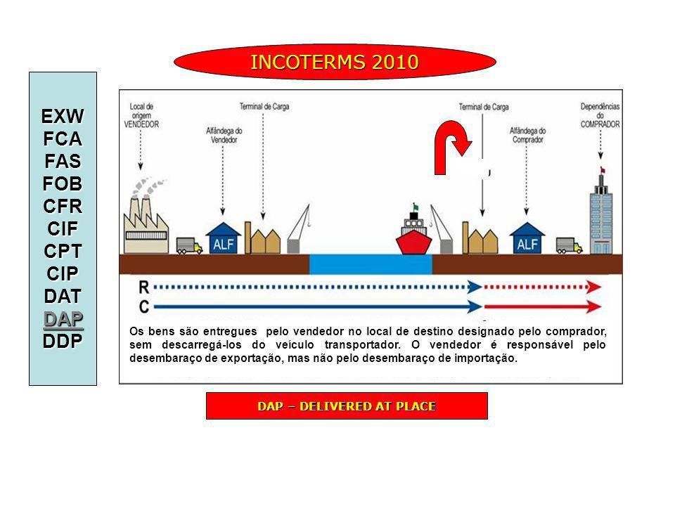 INCOTERMS 2010 DAP – DELIVERED AT PLACE EXWFCAFASFOBCFRCIFCPTCIPDATDAPDDP Os bens são entregues pelo vendedor no local de destino designado pelo compr
