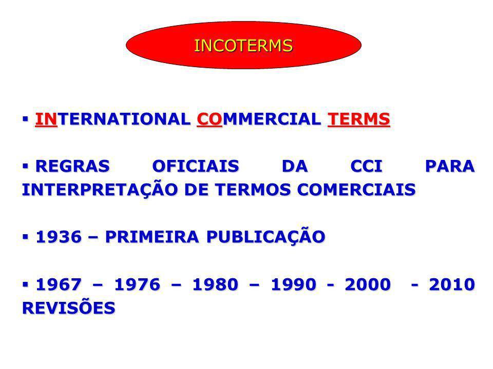 INTERNATIONAL COMMERCIAL TERMS INTERNATIONAL COMMERCIAL TERMS REGRAS OFICIAIS DA CCI PARA INTERPRETAÇÃO DE TERMOS COMERCIAIS REGRAS OFICIAIS DA CCI PA