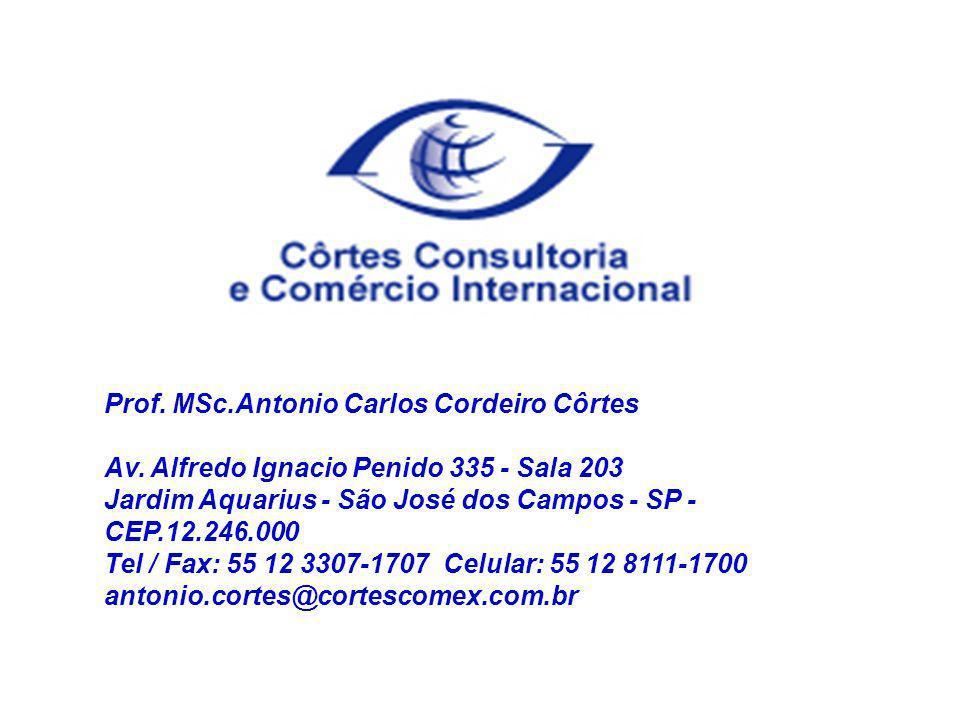 Prof. MSc.Antonio Carlos Cordeiro Côrtes Av. Alfredo Ignacio Penido 335 - Sala 203 Jardim Aquarius - São José dos Campos - SP - CEP.12.246.000 Tel / F