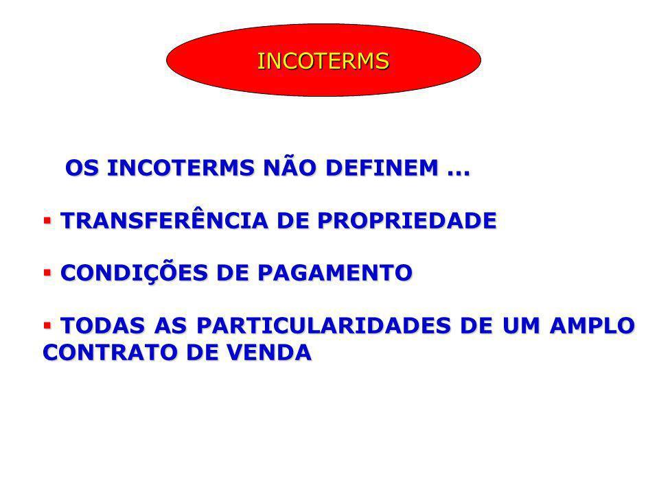 OS INCOTERMS NÃO DEFINEM... OS INCOTERMS NÃO DEFINEM... TRANSFERÊNCIA DE PROPRIEDADE TRANSFERÊNCIA DE PROPRIEDADE CONDIÇÕES DE PAGAMENTO CONDIÇÕES DE