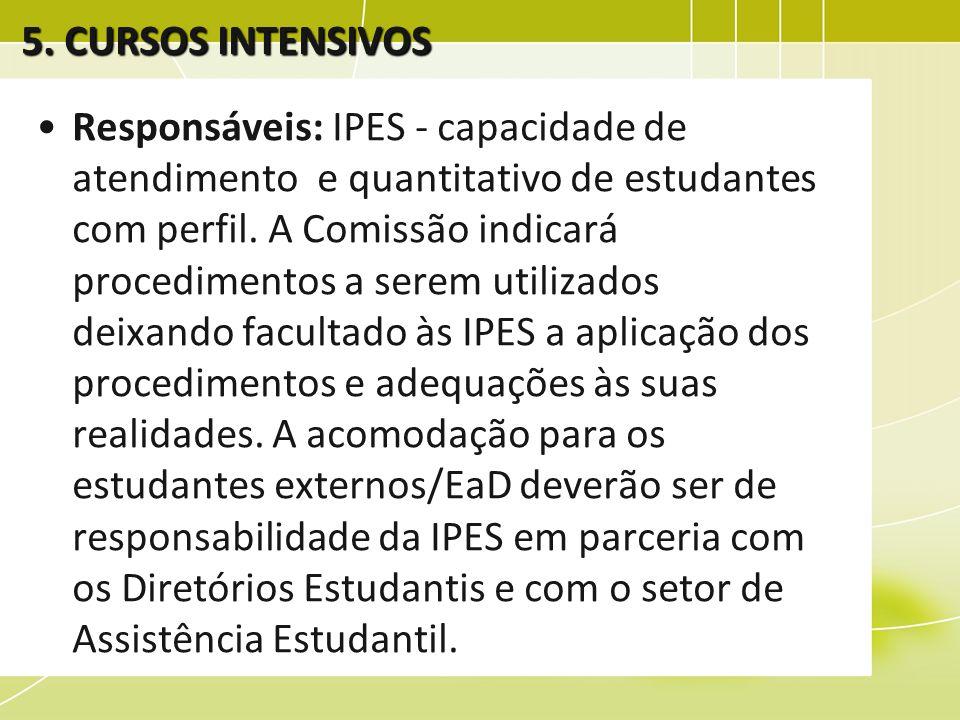 Responsáveis: IPES - capacidade de atendimento e quantitativo de estudantes com perfil. A Comissão indicará procedimentos a serem utilizados deixando