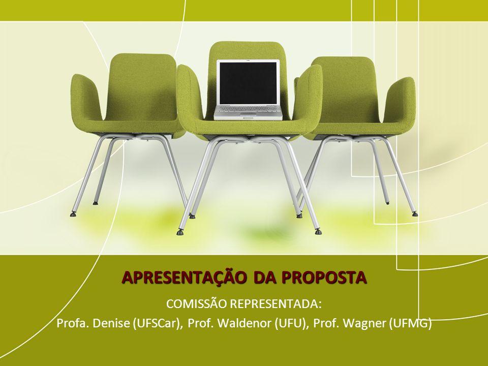 APRESENTAÇÃO DA PROPOSTA COMISSÃO REPRESENTADA: Profa. Denise (UFSCar), Prof. Waldenor (UFU), Prof. Wagner (UFMG)