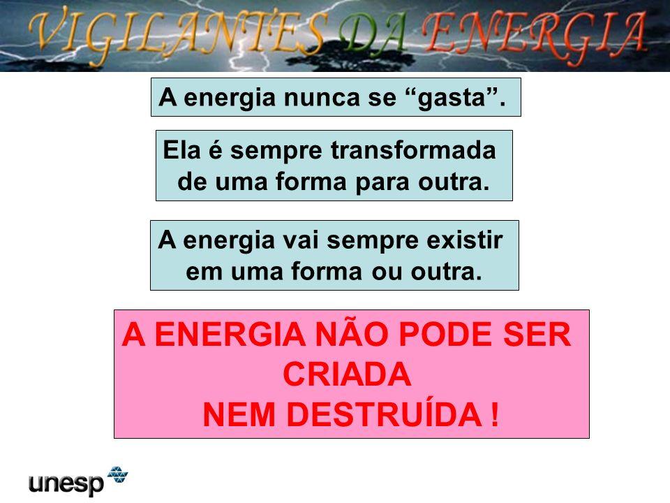 Ela é sempre transformada de uma forma para outra. A energia nunca se gasta. A energia vai sempre existir em uma forma ou outra. A ENERGIA NÃO PODE SE