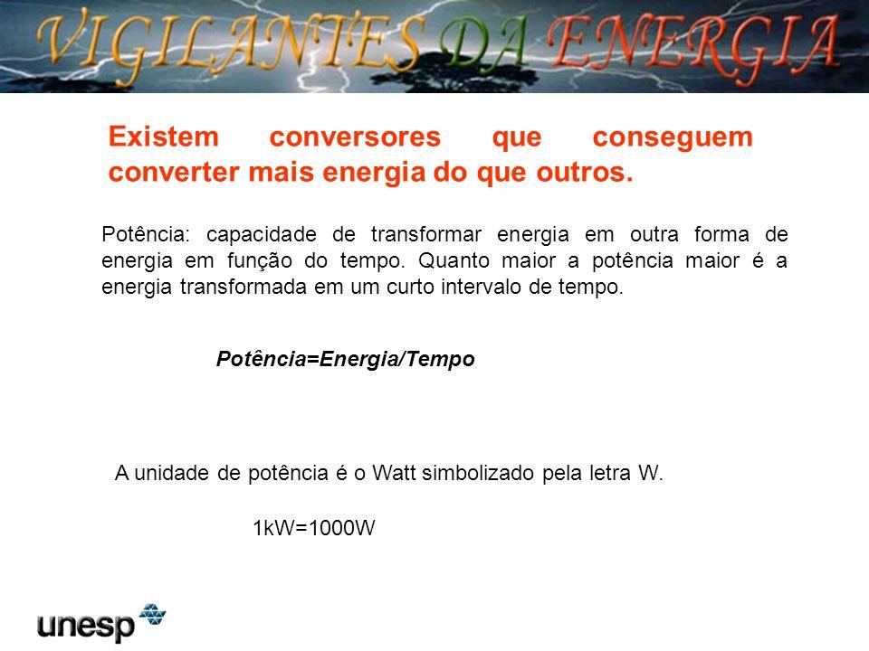 Potência: capacidade de transformar energia em outra forma de energia em função do tempo. Quanto maior a potência maior é a energia transformada em um