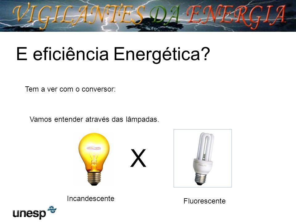E eficiência Energética? Tem a ver com o conversor: Vamos entender através das lâmpadas. X Incandescente Fluorescente
