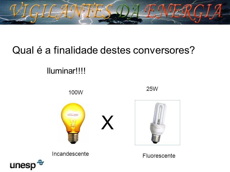 X Incandescente Fluorescente Qual é a finalidade destes conversores? Iluminar!!!! 100W 25W