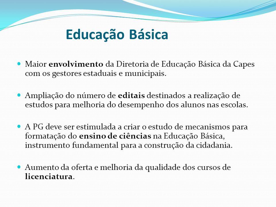 Educação Básica Maior envolvimento da Diretoria de Educação Básica da Capes com os gestores estaduais e municipais. Ampliação do número de editais des