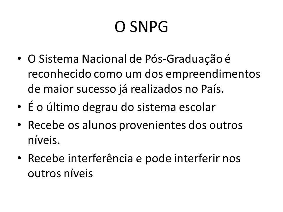 O SNPG O Sistema Nacional de Pós-Graduação é reconhecido como um dos empreendimentos de maior sucesso já realizados no País. É o último degrau do sist