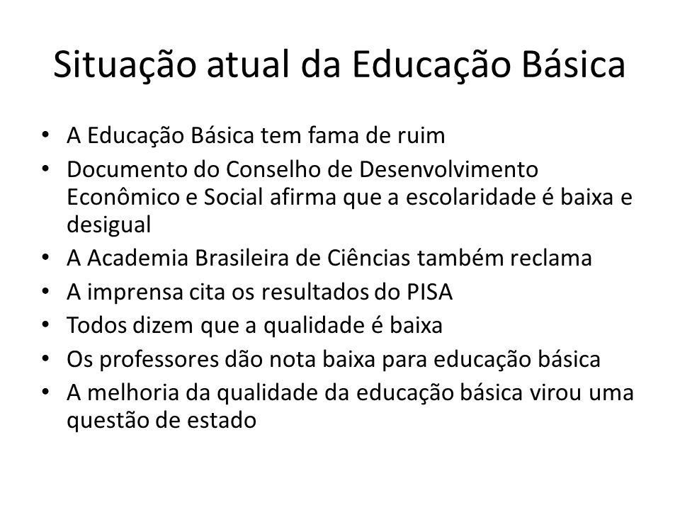 Situação atual da Educação Básica A Educação Básica tem fama de ruim Documento do Conselho de Desenvolvimento Econômico e Social afirma que a escolari