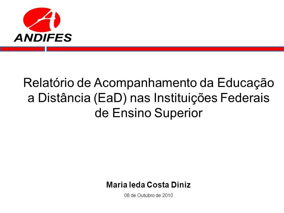 Relatório de Acompanhamento da Educação a Distância (EaD) nas Instituições Federais de Ensino Superior Maria Ieda Costa Diniz 08 de Outubro de 2010