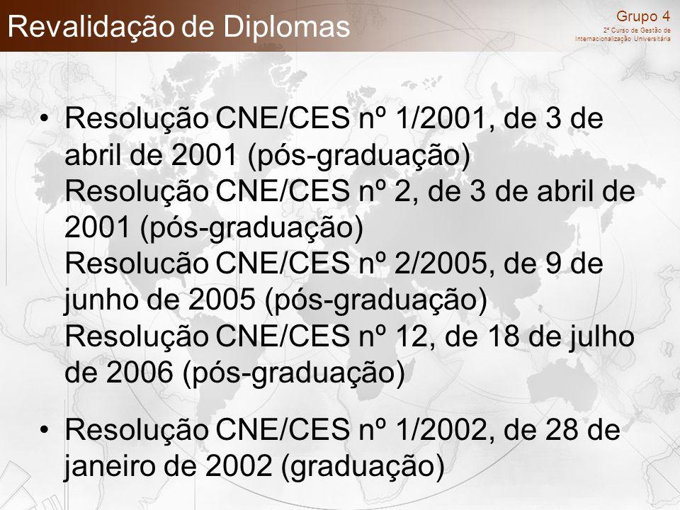 Grupo 4 2º Curso de Gestão de Internacionalização Universitária Revalidação de Diplomas Resolução CNE/CES nº 1/2001, de 3 de abril de 2001 (pós-gradua