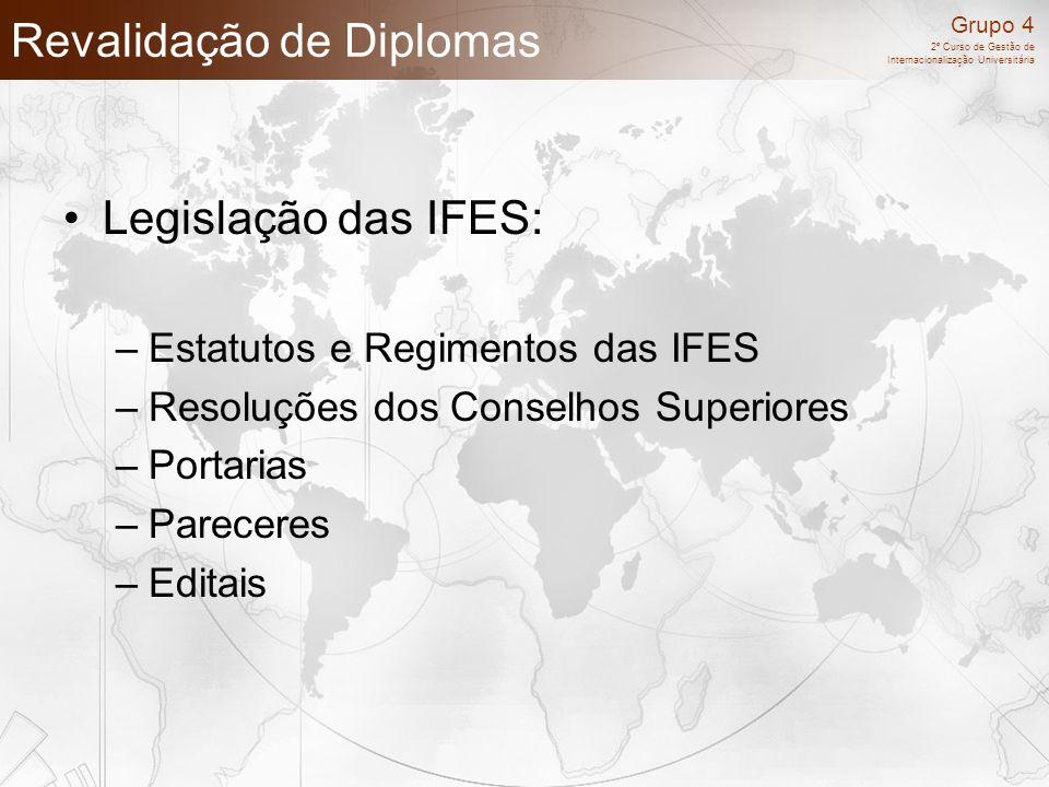 Grupo 4 2º Curso de Gestão de Internacionalização Universitária Revalidação de Diplomas Legislação das IFES: –Estatutos e Regimentos das IFES –Resoluç