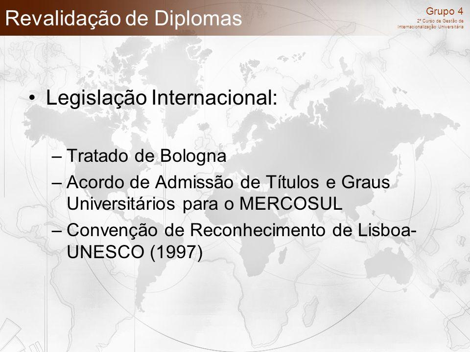 Grupo 4 2º Curso de Gestão de Internacionalização Universitária Revalidação de Diplomas Legislação Internacional: –Tratado de Bologna –Acordo de Admis
