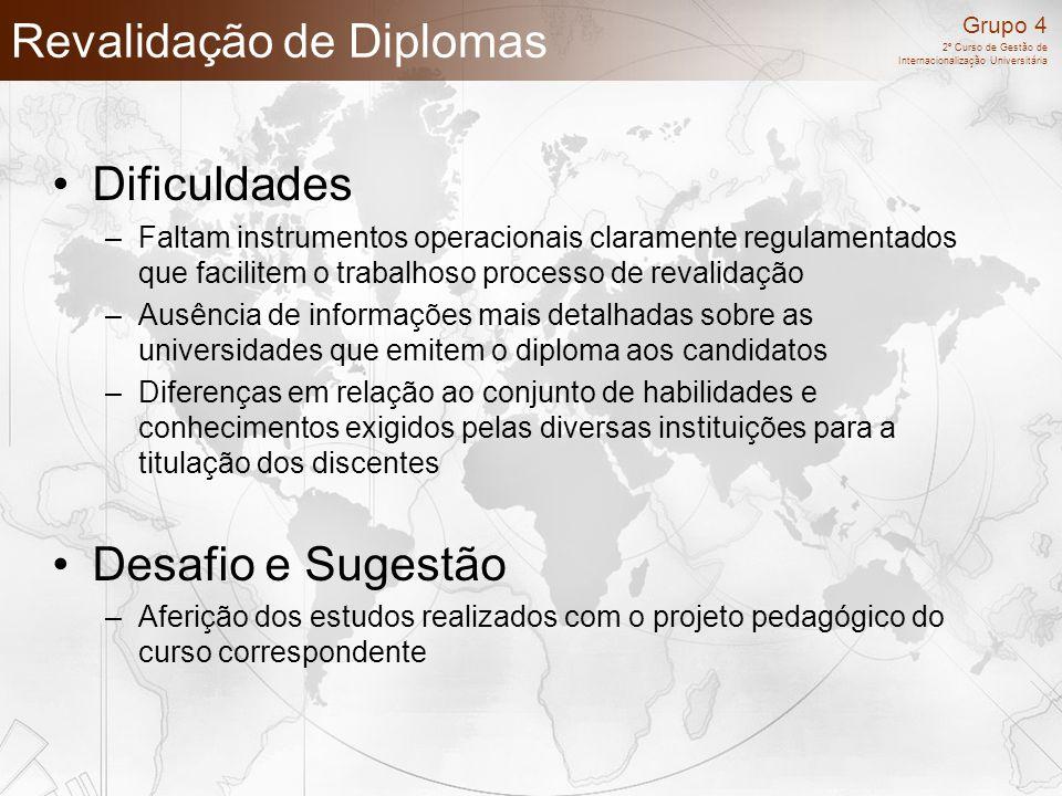 Grupo 4 2º Curso de Gestão de Internacionalização Universitária Revalidação de Diplomas Dificuldades –Faltam instrumentos operacionais claramente regu