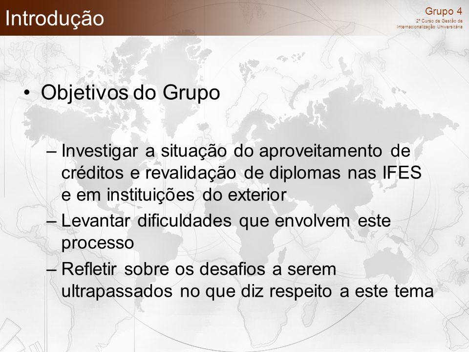 Grupo 4 2º Curso de Gestão de Internacionalização Universitária Introdução Objetivos do Grupo –Investigar a situação do aproveitamento de créditos e r