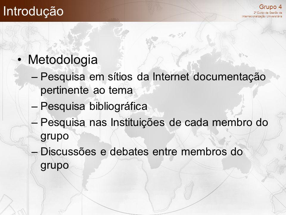 Grupo 4 2º Curso de Gestão de Internacionalização Universitária Introdução Metodologia –Pesquisa em sítios da Internet documentação pertinente ao tema