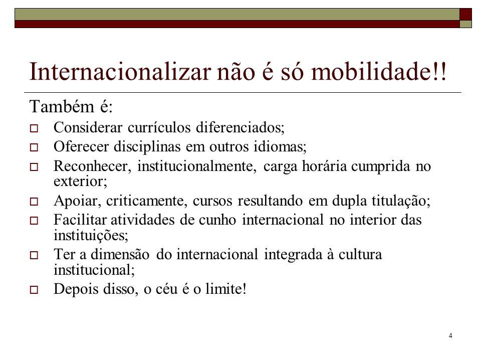 4 Internacionalizar não é só mobilidade!! Também é: Considerar currículos diferenciados; Oferecer disciplinas em outros idiomas; Reconhecer, instituci