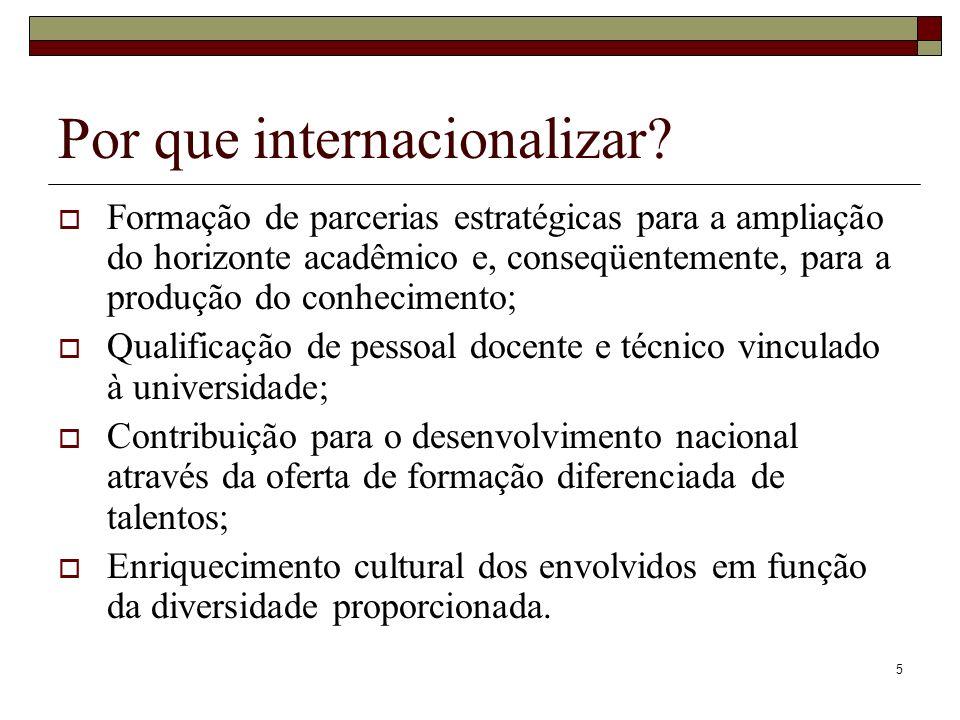 5 Por que internacionalizar? Formação de parcerias estratégicas para a ampliação do horizonte acadêmico e, conseqüentemente, para a produção do conhec