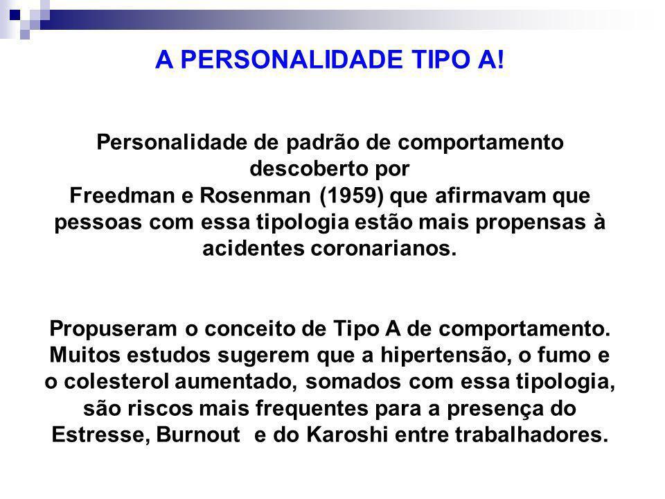 A PERSONALIDADE TIPO A! Personalidade de padrão de comportamento descoberto por Freedman e Rosenman (1959) que afirmavam que pessoas com essa tipologi