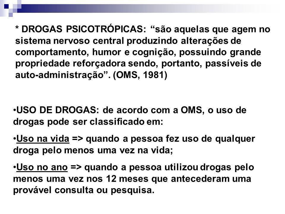 * DROGAS PSICOTRÓPICAS: são aquelas que agem no sistema nervoso central produzindo alterações de comportamento, humor e cognição, possuindo grande pro