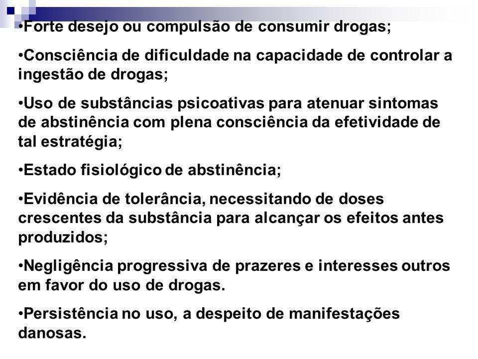 Forte desejo ou compulsão de consumir drogas; Consciência de dificuldade na capacidade de controlar a ingestão de drogas; Uso de substâncias psicoativ