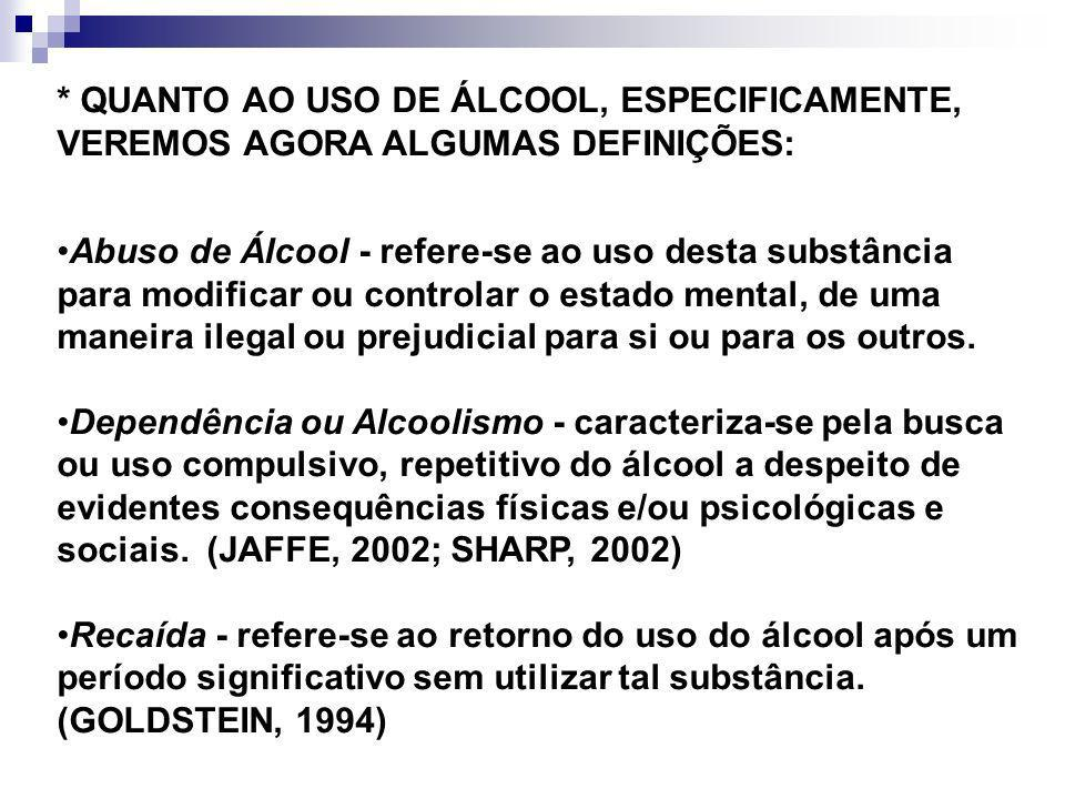 * QUANTO AO USO DE ÁLCOOL, ESPECIFICAMENTE, VEREMOS AGORA ALGUMAS DEFINIÇÕES: Abuso de Álcool - refere-se ao uso desta substância para modificar ou co