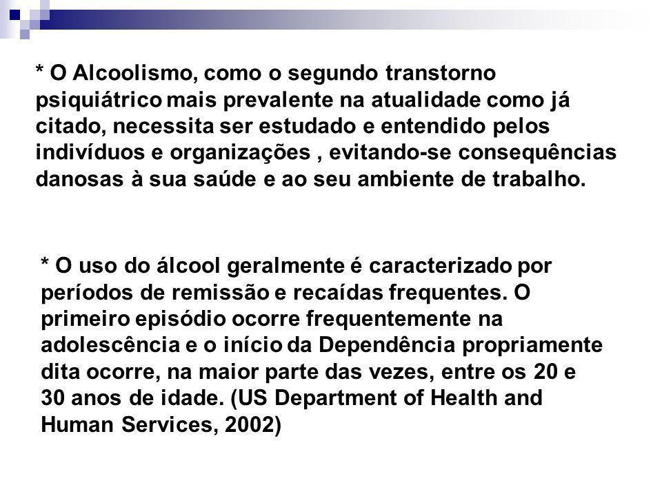 * O Alcoolismo, como o segundo transtorno psiquiátrico mais prevalente na atualidade como já citado, necessita ser estudado e entendido pelos indivídu