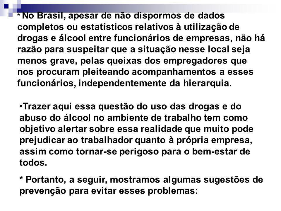 * No Brasil, apesar de não dispormos de dados completos ou estatísticos relativos à utilização de drogas e álcool entre funcionários de empresas, não