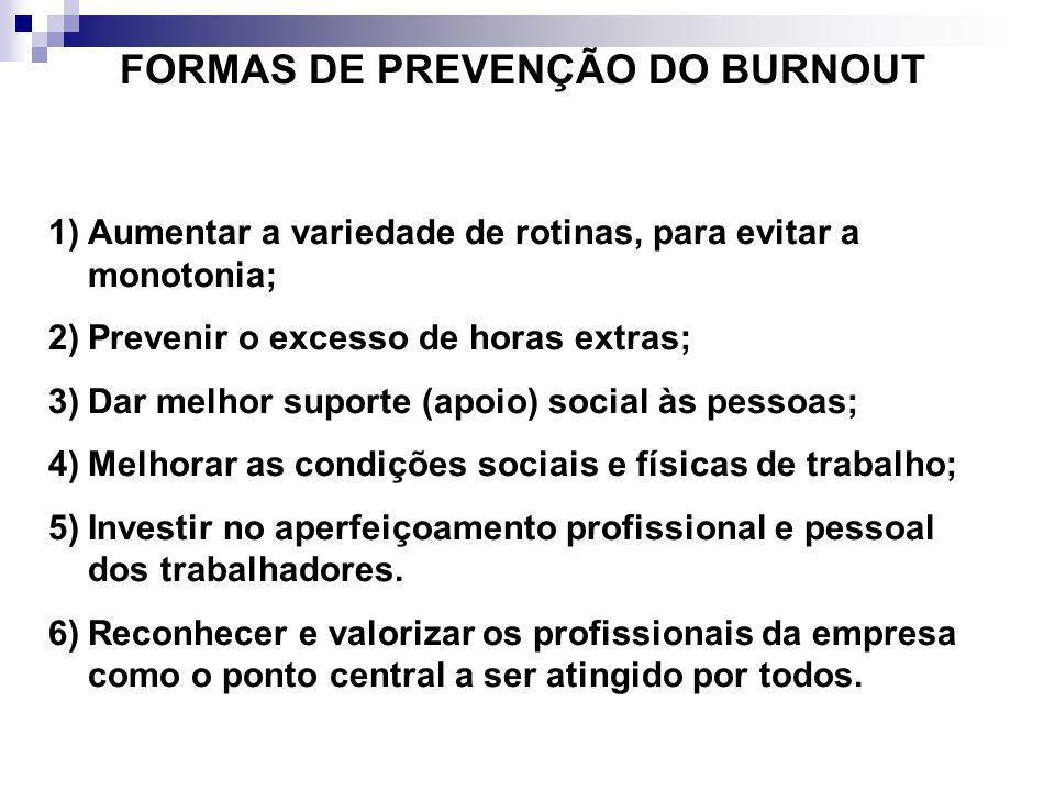 FORMAS DE PREVENÇÃO DO BURNOUT 1)Aumentar a variedade de rotinas, para evitar a monotonia; 2)Prevenir o excesso de horas extras; 3)Dar melhor suporte