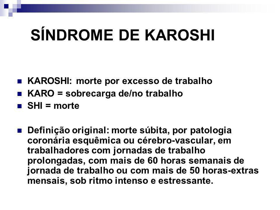 SÍNDROME DE KAROSHI KAROSHI: morte por excesso de trabalho KARO = sobrecarga de/no trabalho SHI = morte Definição original: morte súbita, por patologi