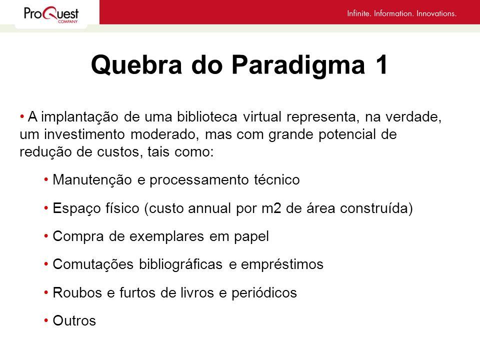 Quebra do Paradigma 1 A implantação de uma biblioteca virtual representa, na verdade, um investimento moderado, mas com grande potencial de redução de