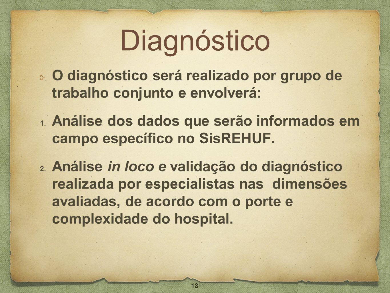 Diagnóstico O diagnóstico será realizado por grupo de trabalho conjunto e envolverá: 1. Análise dos dados que serão informados em campo específico no