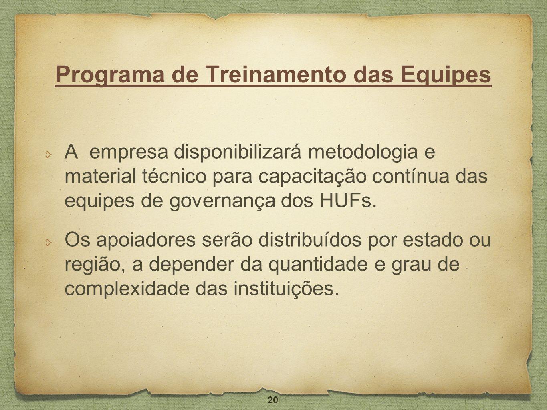 Programa de Treinamento das Equipes A empresa disponibilizará metodologia e material técnico para capacitação contínua das equipes de governança dos H