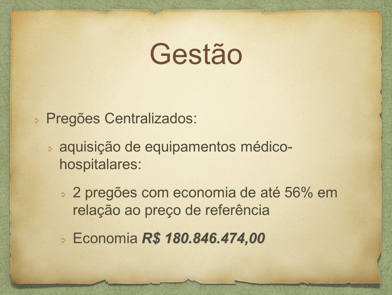 Gestão Pregões Centralizados: aquisição de equipamentos médico- hospitalares: 2 pregões com economia de até 56% em relação ao preço de referência R$ 1