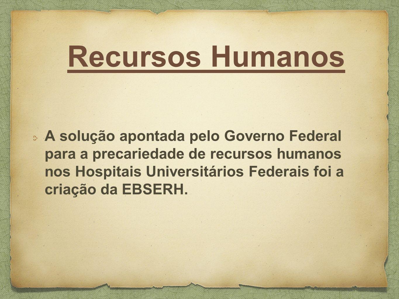 Recursos Humanos A solução apontada pelo Governo Federal para a precariedade de recursos humanos nos Hospitais Universitários Federais foi a criação d