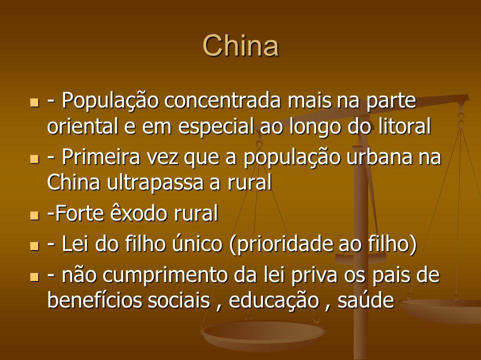 China - População concentrada mais na parte oriental e em especial ao longo do litoral - População concentrada mais na parte oriental e em especial ao