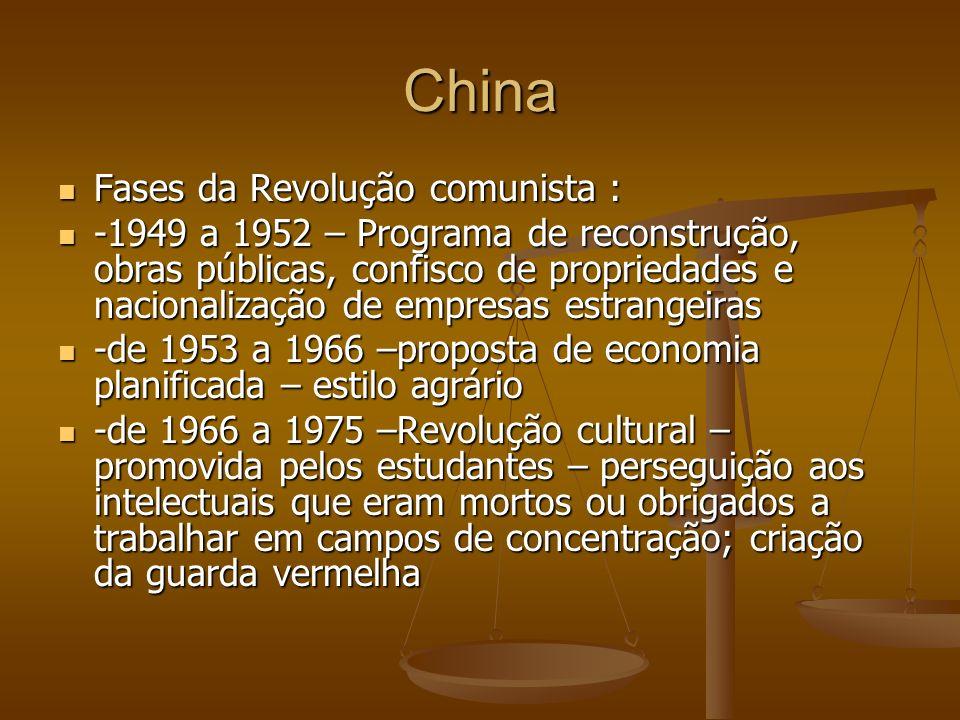 China Fases da Revolução comunista : Fases da Revolução comunista : -1949 a 1952 – Programa de reconstrução, obras públicas, confisco de propriedades