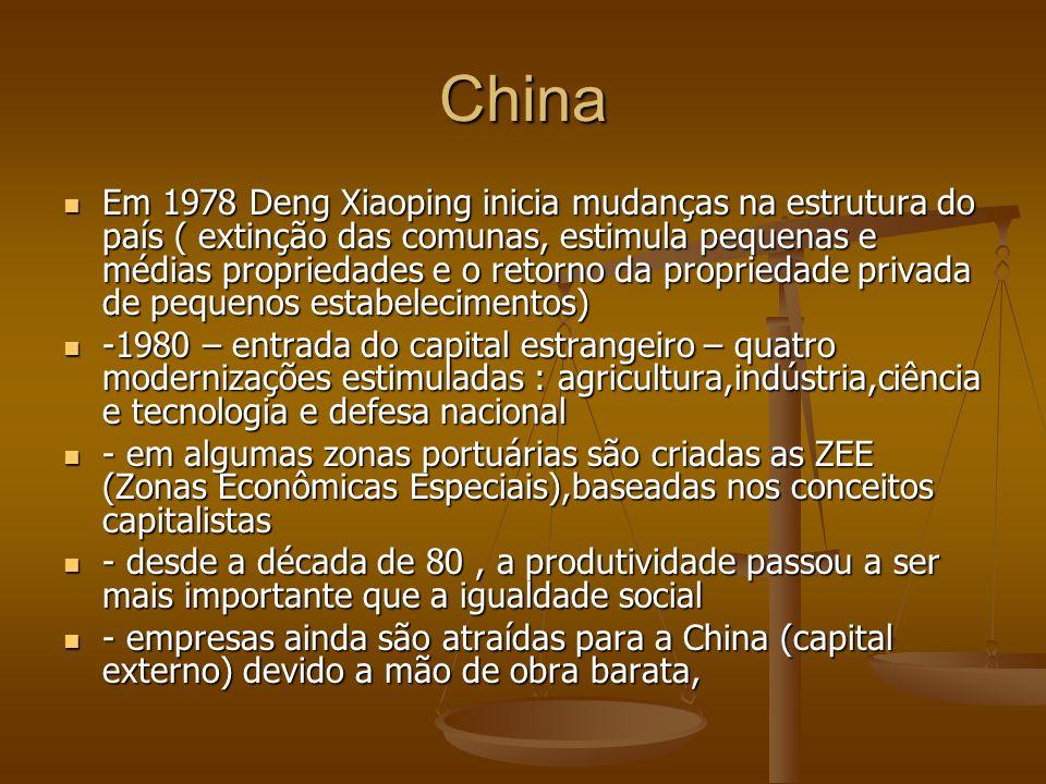 China Em 1978 Deng Xiaoping inicia mudanças na estrutura do país ( extinção das comunas, estimula pequenas e médias propriedades e o retorno da propriedade privada de pequenos estabelecimentos) Em 1978 Deng Xiaoping inicia mudanças na estrutura do país ( extinção das comunas, estimula pequenas e médias propriedades e o retorno da propriedade privada de pequenos estabelecimentos) -1980 – entrada do capital estrangeiro – quatro modernizações estimuladas : agricultura,indústria,ciência e tecnologia e defesa nacional -1980 – entrada do capital estrangeiro – quatro modernizações estimuladas : agricultura,indústria,ciência e tecnologia e defesa nacional - em algumas zonas portuárias são criadas as ZEE (Zonas Econômicas Especiais),baseadas nos conceitos capitalistas - em algumas zonas portuárias são criadas as ZEE (Zonas Econômicas Especiais),baseadas nos conceitos capitalistas - desde a década de 80, a produtividade passou a ser mais importante que a igualdade social - desde a década de 80, a produtividade passou a ser mais importante que a igualdade social - empresas ainda são atraídas para a China (capital externo) devido a mão de obra barata, - empresas ainda são atraídas para a China (capital externo) devido a mão de obra barata,