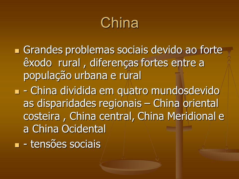 China Grandes problemas sociais devido ao forte êxodo rural, diferenças fortes entre a população urbana e rural Grandes problemas sociais devido ao fo